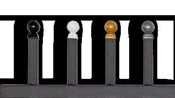 Premium Knopp finns i svart, vit, guld eller silver