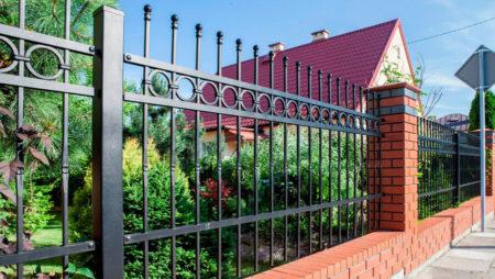 Svart staket med knoppar